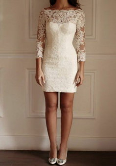 Bodycon Bateau 3/4 Sleeves White Lace Homecoming Dress