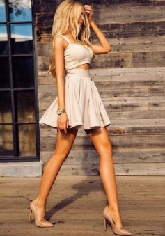 Two Piece Straps Short Light Grey Elastic Satin Homecoming Dress