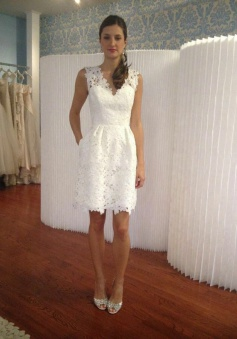 A-Line V-Neck Short White Lace Homecoming Dress with Pockets