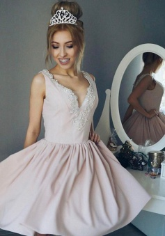 A-Line V-Neck Short Pearl Pink Satin Homecoming Dress with Beading