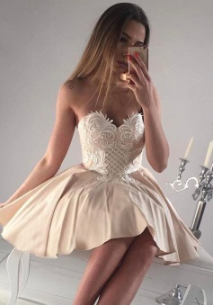 A-Line Sweetheart Short Beige Satin Homecoming Dress with Appliques