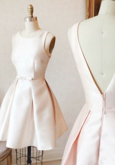 A-Line Bateau V-Back Short Pearl Pink Satin Homecoming Dress with Sash