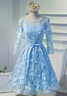 A-Line Bateau 3/4 Sleeves Open Back Blue Lace Homecoming Dress with Sash