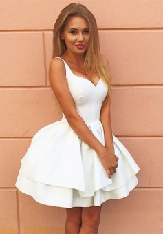 Ball Gown Straps Short Lace-up White Satin Homecoming Dress