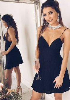 A-Line Spaghetti Straps Chiffon Little Black Dress