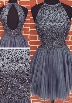 A-Line Jewel Sleeveless Open Back Purple Tulle Short Cocktail/ Homecoming Dress