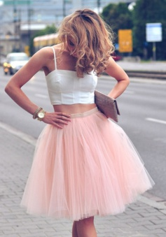 Two Piece Spaghetti Straps Knee-Length Pearl Pink Homecoming Dress