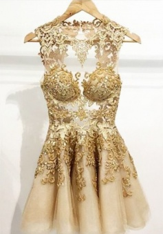 Simple-dress Handmade Scoop Short Gold Tulle Homecoming / Party Dress