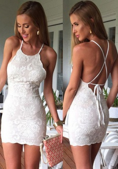 Sheath Halter Sleeveless Short Criss-Cross Straps Ivory Lace Homecoming Dress