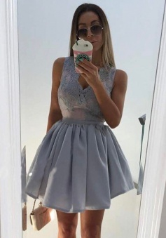 A-Line V-Neck Sleeveless Short Grey Stretch Satin Homecoming Dress with Appliques
