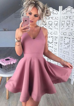 A-Line V-Neck Sleeveless Short Blush Satin Homecoming Dress