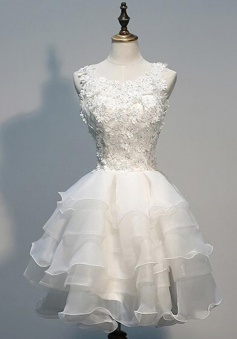 Ball Gown Jewel Short White Tiered Organza Homecoming Dress with Appliques