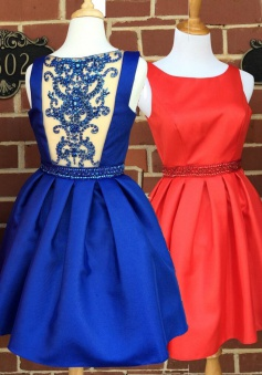 A-line Scoop Short Satin See Through Back Red/Royal Blue Homecoming Dress with Beading