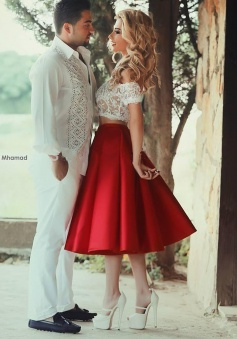 Two Piece Off-the-Shoulder Mid-Calf Red Satin Homecoming Dress with Lace