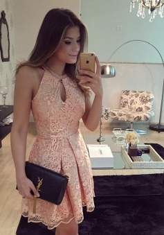 A-Line Jewel Short Sleeveless Keyhole Pink Lace Homecoming Dress