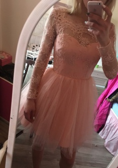 A-Line Square Long Sleeves Short Pink Tulle Homecoming Dress with Appliques