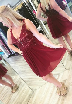 A-Line Deep V-Neck Short Maroon Homecoming Dress with Beading Appliques