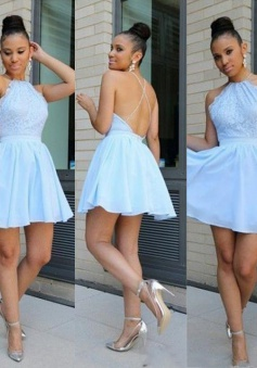 Sexy Jewel Short Mint Green Homecoming Dress with Lace Top Backless