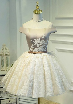 Ball Gown Off-the-Shoulder Short Ivory Lace Homecoming Dress with Appliques
