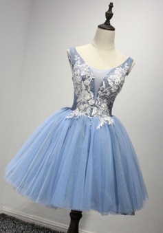 Ball Gown Scoop Short Blue Tulle Homecoming Dress with Appliques