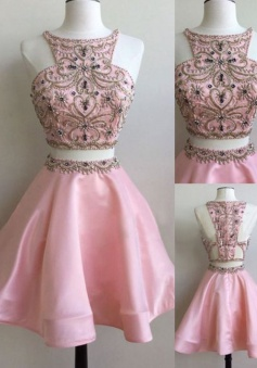 Stunning Two Piece Bateau Sleeveless Short Pink Homecoming Dress with Beading