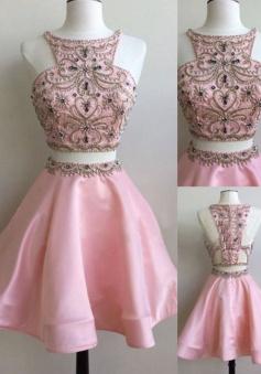 Stunning Two Piece Bateau Sleeveless Short Pink Homecoming Dress with Beading