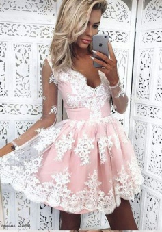 A-Line V-Neck Long Sleeves Short Pink Tulle Homecoming Dress with Appliques