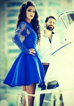 A-Line Jewel Long Sleeves Short  Royal Blue Satin Homecoming Dress with Appliques