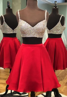 Two Piece A-line V-neck Beaded Satin Red Backless Short Party Homecoming Dress