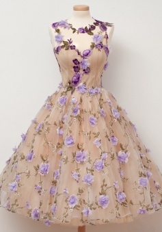 A-Line Jewel Tea-Length Open Back Champagne Tulle Homecoming Dress with Appliques Flowers