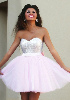 New Arrival Sweetheart Short Pink Homecoming Dress with Beaded Bowknot