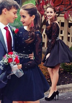 Hot Sale Long Sleeves Open Back Dark Navy Homecoming Dress with Lace Beading Waist
