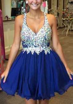 New Arrival V-neck Short Royal Blue Homecoming Dress with Beading