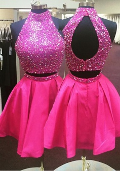 Hot-selling A-line Two-piece Fuchsia Short Homecoming Dress/Party Dress