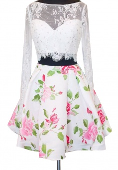 Two Piece Bateau Long Sleeves Floral Print White Satin Homecoming Dress With Lace
