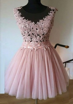 A-Line Bateau Short Pink Tulle Homecoming Dress with Appliques