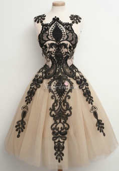 Handmade A-line Black Lace Short Tulle Homecoming Party Dress