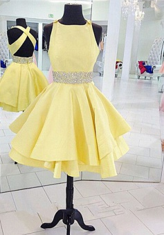 A-line Crew Satin Criss-Cross Straps Backless Yellow Short Homecoming Dress