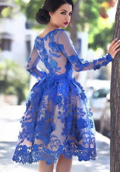 A-Line Round Knee-Length Long Sleeves Royal Blue Tulle Homecoming Dress with Appliques