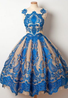 A-Line Jewel Tea-Length Champagne Tulle Homecoming Dress with Royal Blue Appliques