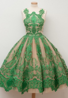 A-Line Jewel Tea-Length Champagne Tulle Homecoming Dress with Green Appliques