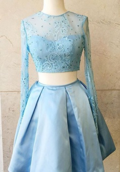 Two Piece Long Sleeves Shrt Satin Blue Homecoming Dress with Beading Lace