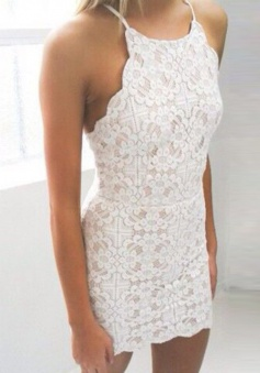 Bodycon Spaghetti Straps Short Ivory Lace Homecoming Cocktail Dress