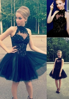 Elegant A-line Tulle Little Black Homecoming Sweet 16 Dress