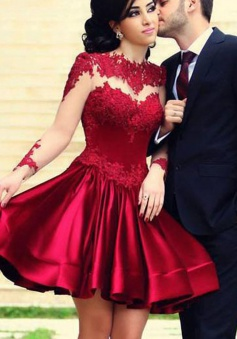 3617faa459eb 33%OFF. Elegant A-line Crew Long Sleeves Short Dark Red Lace Prom  Homecoming Dress.  139.49