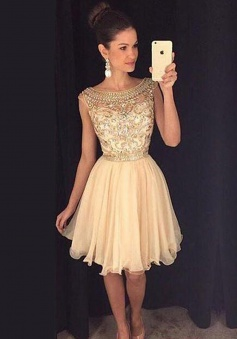 A-line Bateau Cap Sleeves Tulle Beaded Short Champagne Homecoming Prom Dress