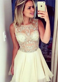 A-line Jewel Above-knee Chiffon Sleeveless Beaded White Short Homecoming Dress