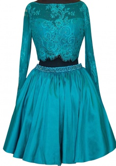 Two Piece Round Neck Knee-Length Satin Long Sleeves Beaded Lace Turquoise Homeocming Dress
