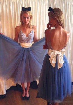 Dramatic V-neck Open Back Tea-Length Blue Homecoming Dress with Lace Beige Bowknot