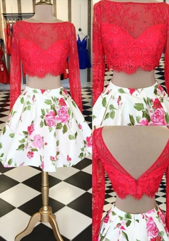Glamorous Two Piece Open Back Long Sleeves Floral Short Homecoming Dress Beaded Red Lace Top